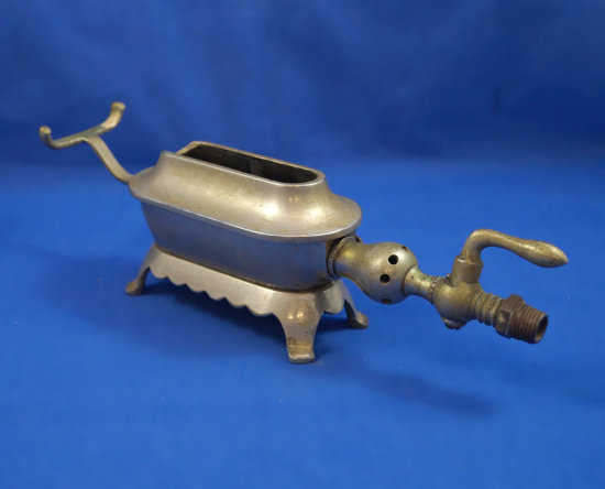 "Gas-fired SAD iron warmer, heater burner/torch, Ht 3"" over length 10"""