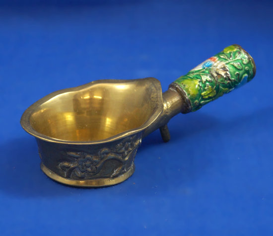 "Oriental pan iron, brass, painted picture on handle, intricate design on base, 4 7/8"""" long"
