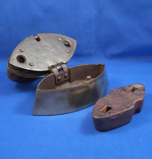 "Siddons English box iron, ""The Diamond Club"", Ht 5 1/2"", 7"" long"