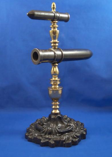 "Goffering iron, double, European, brass finial, about 1850, Ht 13"", barrels 4 1/2"" & 8"" long"