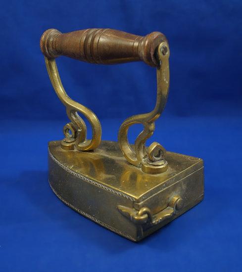 """Box iron, brass, wood handle, swing gate, Ht 6 1/4"""", 6"""" long"""
