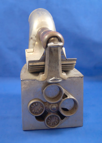 "Charcoal iron, H S Pease, Cincinnati, OH, pull pin closing, Ht 8"", base 7"" long,"
