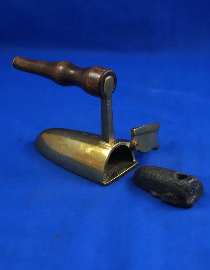 "European all brass ox tongue iron, flip gate with slug, long wood handle, Ht 3"", base 3"" long,"