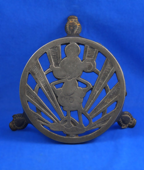 "Mickey Mouse iron resting stand, 1930's, art deco, made in England, 5 1/2"" round top"