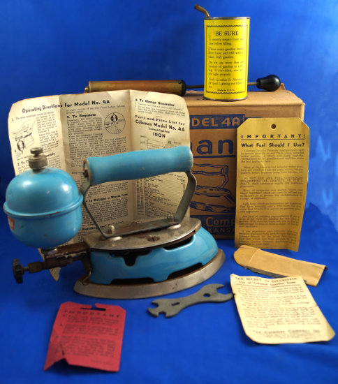 "Coleman iron, model 4A, self-heating, in box w/ misc. items, Ht 6 1/2"", 8"" long"