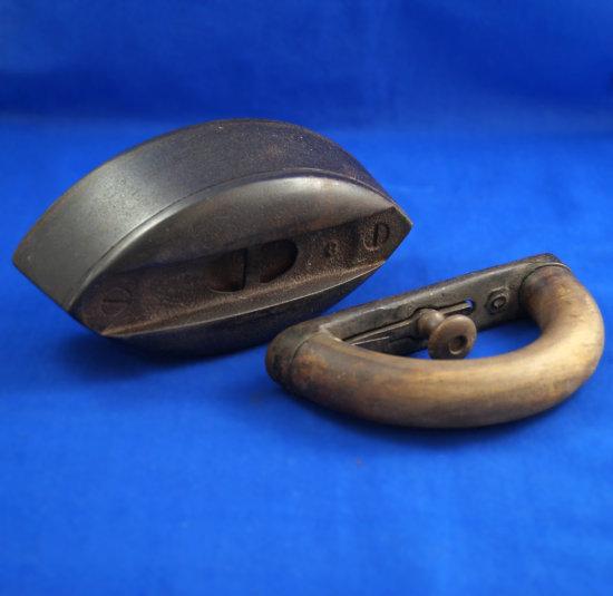 "Sad iron, detachable wooden handle, ""0"", Ht 5"", 6 7/8"" long"