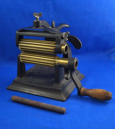 "Machine fluter, 4 1/2"" brass rollers, base 6 1/2"" x 6 1/2"", Ht 8"""