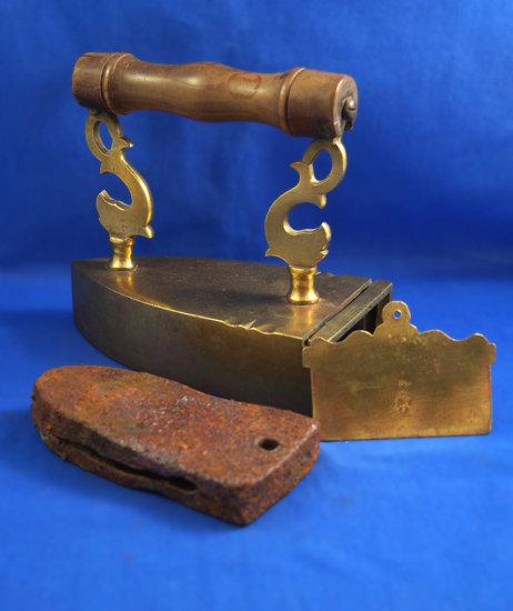 "German brass box iron, dolphin posts, Ht 7"", 7 1/2"" long"