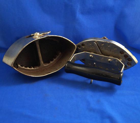 "Charcoal box iron, George Finn, Newark, NJ,  wood handle, Ht 7"", 7"" long"