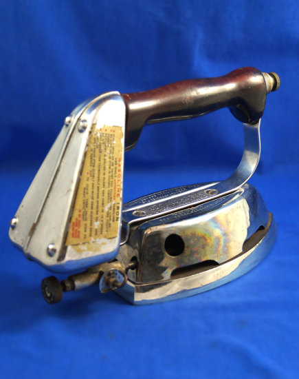 "Gasoline iron, ""The Quick Lighting"", sold by Montgomery Ward, pat 1936, Ht 6"", base 7 1/4"""