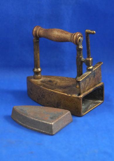"""Box iron with slug,  lift gate, Wood handle, Ht 3 1/2"""", 3 3/4"""" long"""