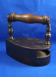 Belgium box iron, wood handle, Ht 6 3/4