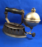 Gas iron, Akron Diamond Mfg, can buy at Montgomery Ward Dept Store, Ht 6 1/2