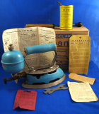 Coleman iron, model 4A, self-heating, in box w/ misc. items, Ht 6 1/2