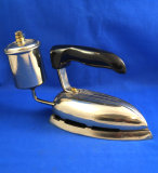 Royal petro iron, art deco styling, black handle, Ht 5 1/2