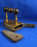 Box iron, brass, from a Danish castle, very fancy 3 knob handle, Ht 5 1/2
