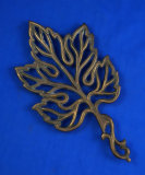 Leaf shaped trivet, made in Israel, brass, 8 1/2