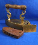 German brass box iron, dolphin posts, Ht 7
