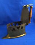 Charcoal box iron, European design, 1700's, brass, thin sole, wood handle, Ht 7