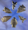 Set of six assorted Obsidian Arrowheads found in Oregon and Nevada.