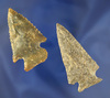 Pair of nice Archaic Cornernotch Arrowheads, found near the Cumberland River, Creelsboro, KY.