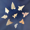 "Group of nine assorted southwestern U. S. Bird Points, largest is 7/8""."