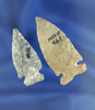 Pair of Intrusive Mound Points made from Coshocton Flint found in Pickaway Co.,  Ohio.