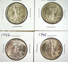 1942, 1943, 1944 and 1945 Walking Liberty Half Dollars AU-Choice AU
