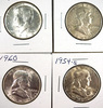 1954-S, 1960, 1963-D Franklin and 1964 Kennedy Half Dollars XF-BU