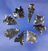 """Set of eight assorted Obsidian arrowheads, largest is 1 1/16"""". All found in Oregon."""
