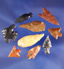"""Set of nine assorted arrowheads found in Washington and Oregon, largest is 1 3/16""""."""