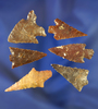 "Group of six assorted Columbia River arrowheads, largest is 1 1/2""."