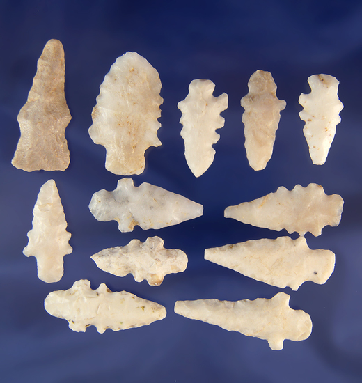 """Nice group of 12 Duran points found in New Mexico, largest is 1 5/8""""."""