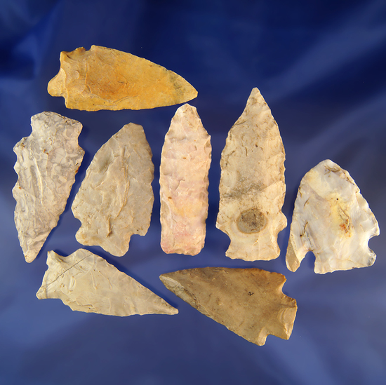 """Set of eight assorted flint knives found in Missouri, largest is 2 3/4""""."""