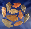 """Set of 10 assorted arrowheads found in Alabama, largest is 2 7/8""""."""