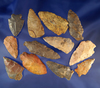 """Set of 12 assorted arrowheads found in Alabama, largest is 2 5/8""""."""