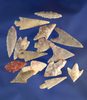 Set of 15 assorted Neolithic arrowheads found in northern Sahara desert region of Africa. Largest is