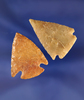 "Nice pair of Western U.S. corner cornernotch arrowheads, largest is 1 3/8""."