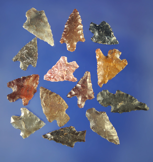 "Group of 12 assorted Columbia River arrowheads. Largest is 3/4"".    Columbia River."