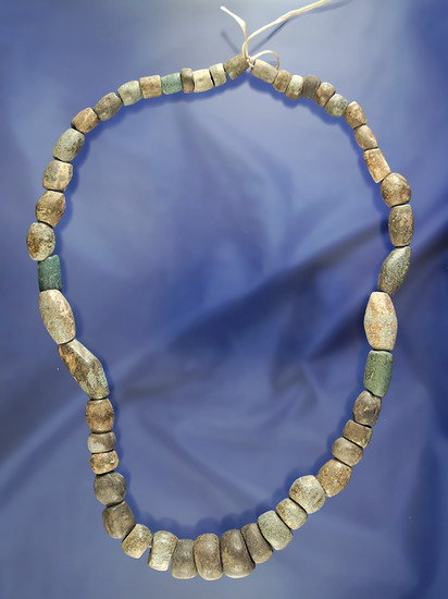 "Nice 20"" long strand of Columbia River stone beads. This is a strand of fine stone beads of assorted"
