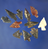 """Group of 12 assorted Columbia River arrowheads, largest is 13/16"""".    Columbia."""