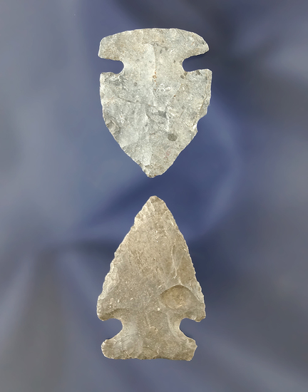 """Pair of Intrusive Mound Points found in Ohio, largest is 1 5/16""""."""