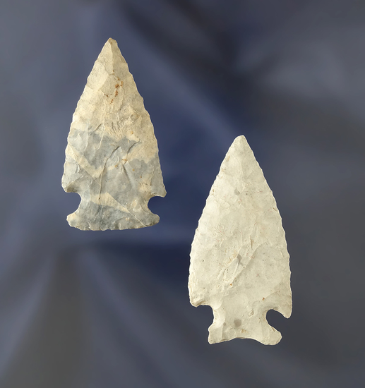 """Pair of Intrusive Mound Points found in Ohio, largest is 1 13/16""""."""