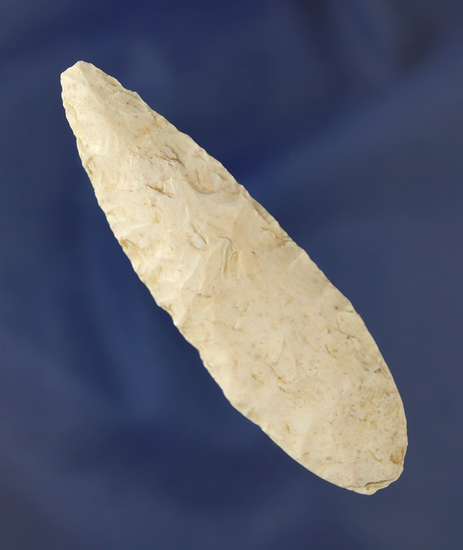 """3 1/8"""" Adena Knife with the heavily ground stem area found in Shelby Co.,  Missouri."""