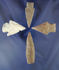"""Set of four Texas arrowheads, largest is 2 15/16"""". All from the Helen DeMoss collection."""