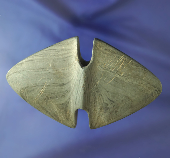 """5 1/2"""" Double Notched Wing Bannerstone found in Tuscarawas Co., Ohio. Bennett COA."""