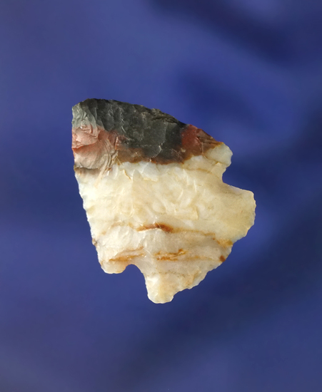 "1 1/16"" Cornernotch arrowhead made from attractive Alibates Flint found in southern Colorado."