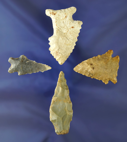 """Set of four assorted arrowheads found in Kentucky. Largest is 1 7/8"""". One is uniquely salvaged."""