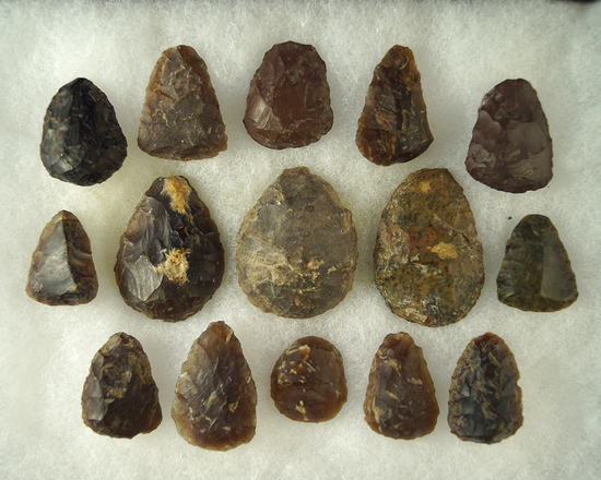 """Excellent set of 15 scrapers, many Knife River Flint found in South Dakota. Largest is 1 3/4"""" long."""