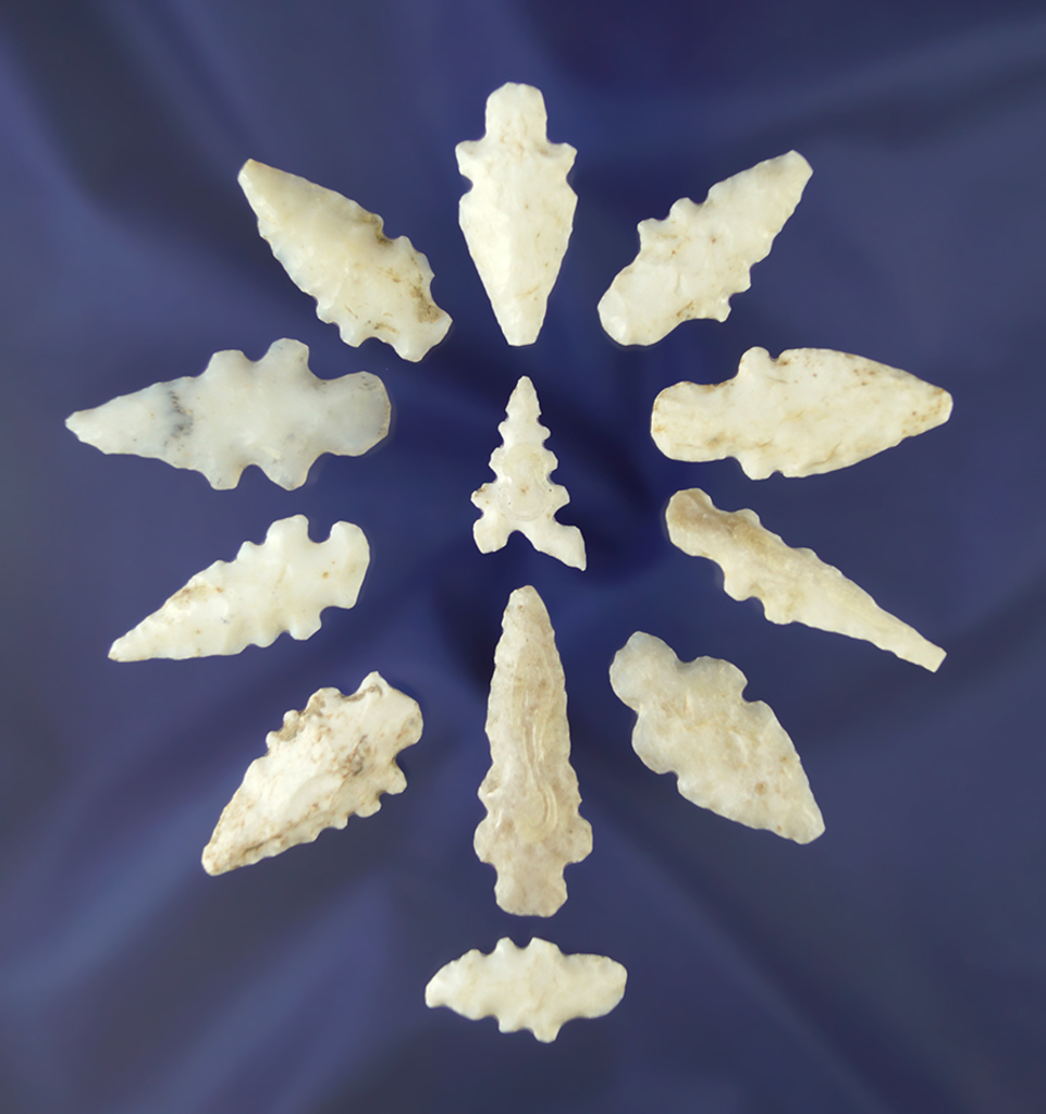 "12 assorted New Mexico arrowheads, many are very nice! Largest is 1 9/16""."